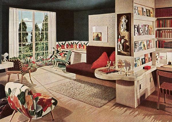 décoration-vintage-salle-de-séjour-motifs-bariolés