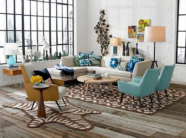 décoration-vintage-salle-de-séjour-vintage-fauteuils-turquoises