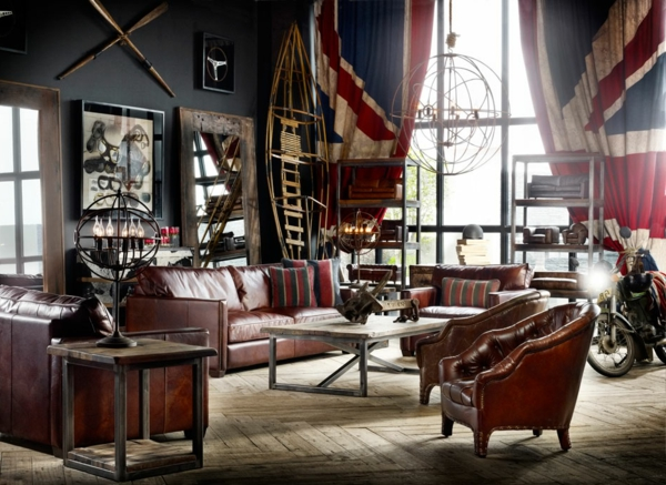 décoration-vintage-salon-vintage-à-thème-nationale