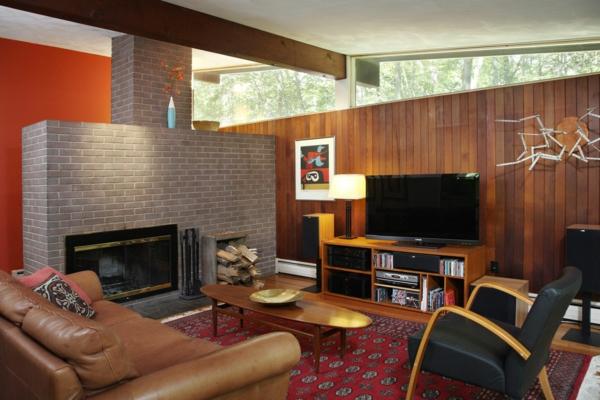 décoration-vintage-sofa-en-cuir-et-cheminée-moderne