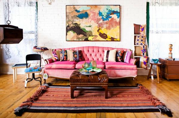 décoration-vintage-une-chambre-vintage-et-sofa-rose