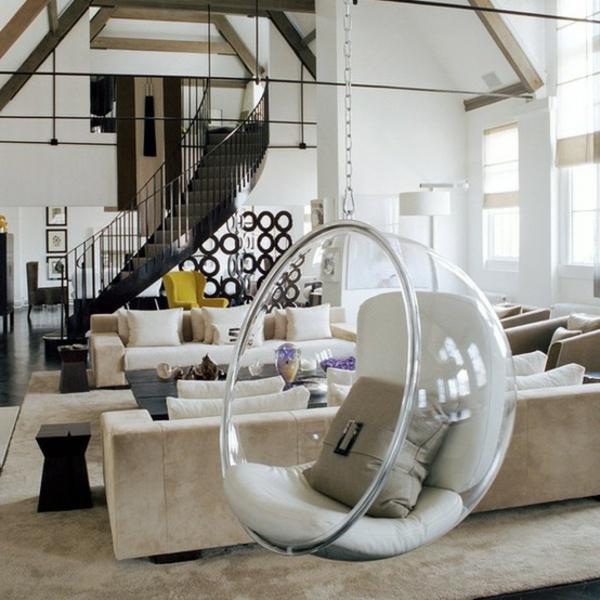 fauteuil-suspendu-intérieur-blanc-sofas-beiges