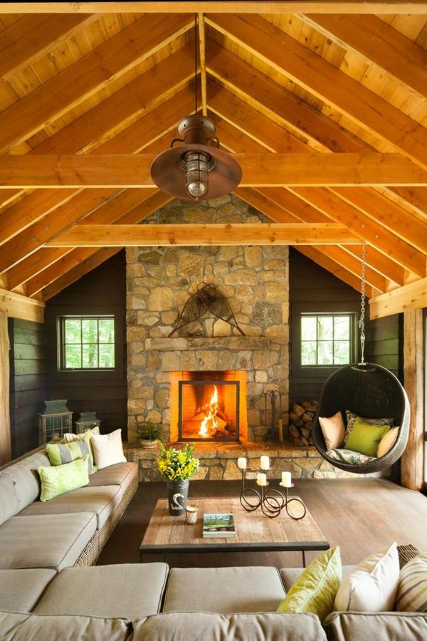 Le fauteuil suspendu id es superbes pour son installation - Deco cheminee interieur ...