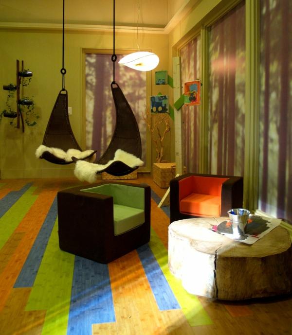 fauteuil-suspendu-un-tapis-unique-chambre-verte