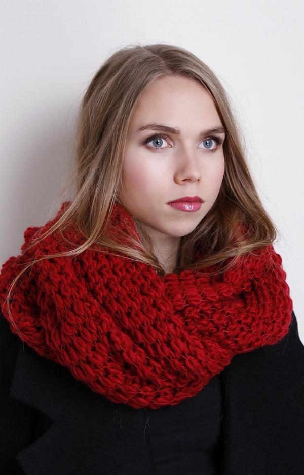 foulard-tube-écharpe-infinie-rouge-vif