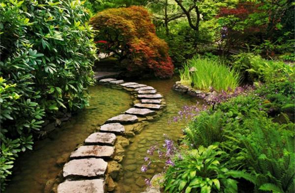 jardin-aquatique-une-allée-en-pierre-dans-l'eau