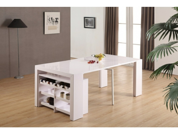 jolie-rangement-de-table-blanche-de-salle-à-manger