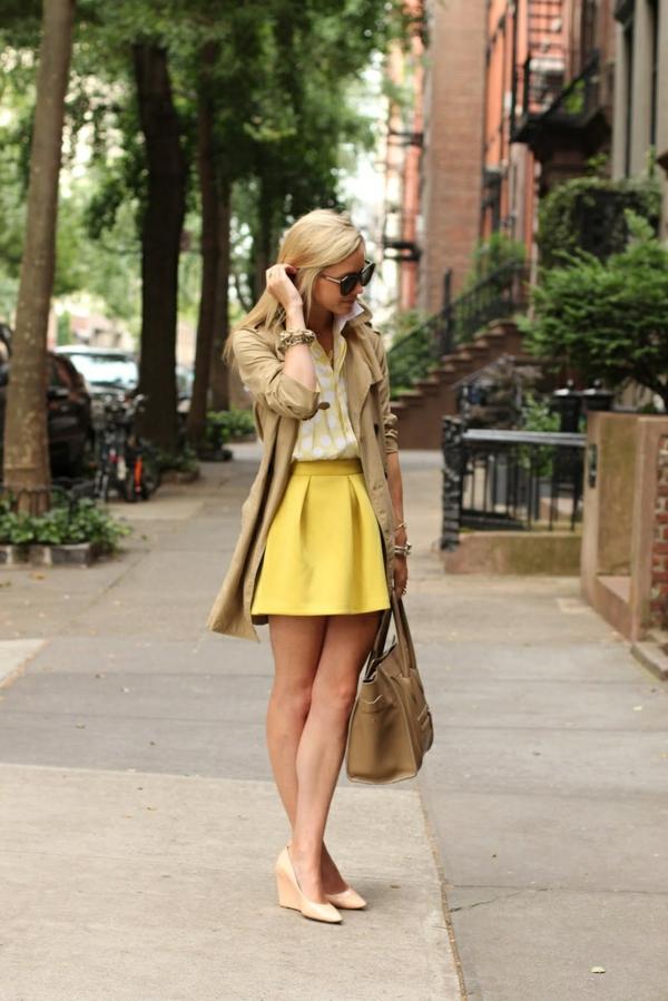 jupe-évasée-jaune-coupe-courte