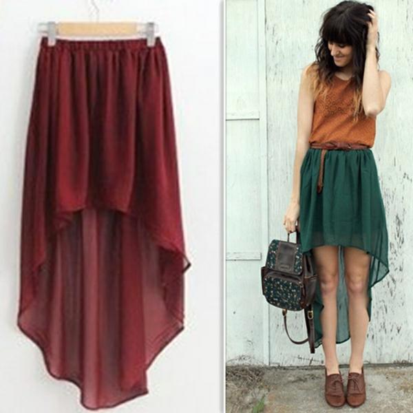 La jupe asym trique f rie et style - Coupe courte devant et longue derriere ...