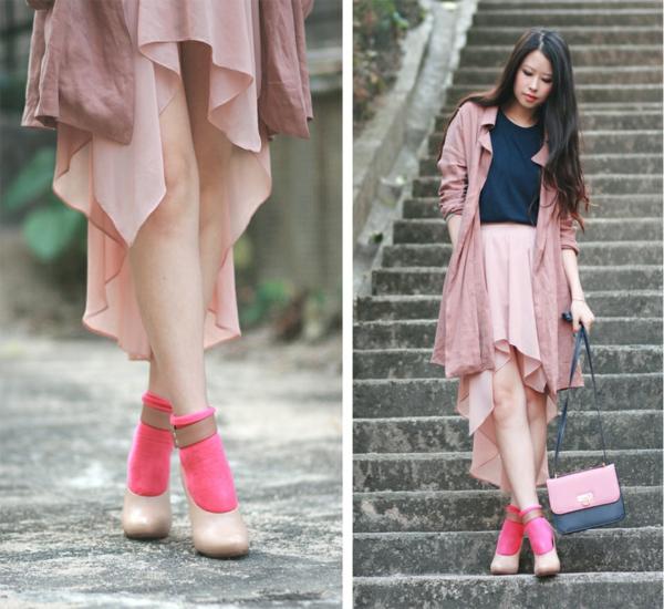 jupe-asymétrique-jupe-évasée-rose
