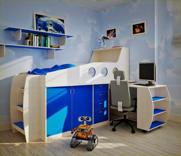 lit-surélevé-bleu-un-bureau-étagères-flottantes-un-intérieur-bleu