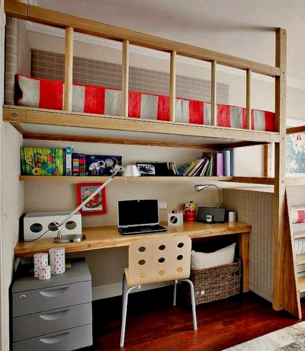 lit-surélevé-bureau-et-étagère-en-bois