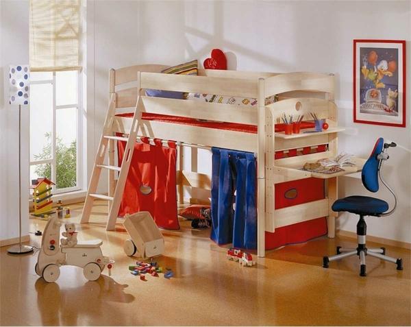 lit-surélevé-lit-avec-rideaux-chambre-d'enfant-originale