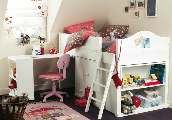 lit-surélevé-un-lit-avec-rangement-un-bureau-et-une-chaise-rose