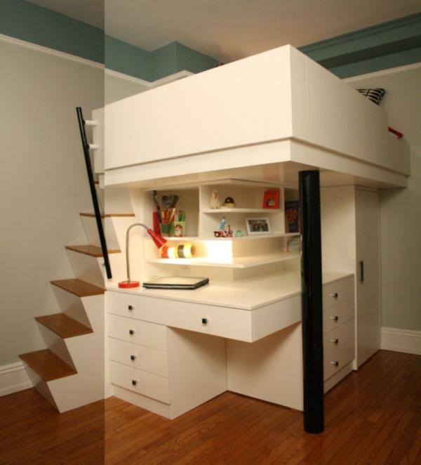 lit-surélevé-un-lit-loft-avec-bureau-armoire-et-escalier