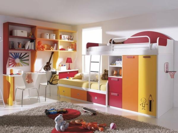 lits-superposés-étagère-murale-couleurs-joyeuses