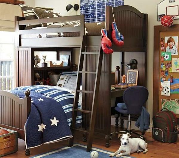 lits-superposés-bureau-et-un-petit-chien