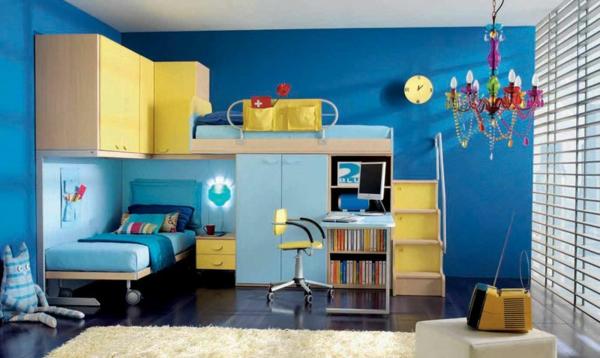 lits-superposés-chambre-d'enfants-en-bleu-et-jaune