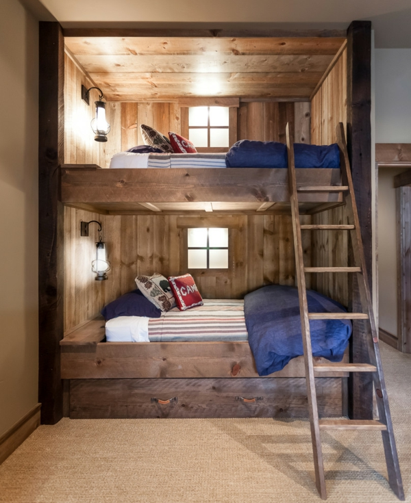 l 39 arrangement des lits superpos s dans la chambre d 39 enfant. Black Bedroom Furniture Sets. Home Design Ideas