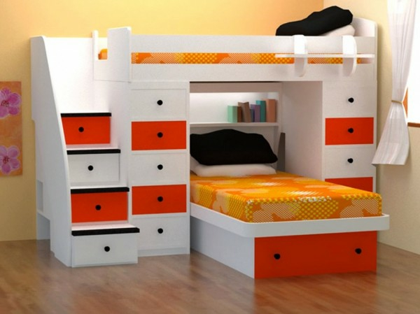 lits-superposés-design-en-orange-et-blanc