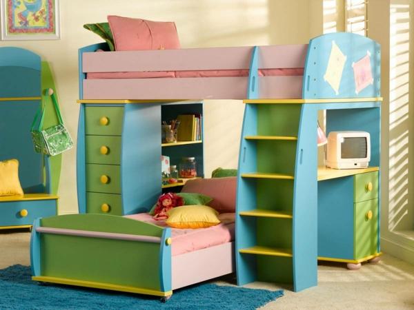 lits-superposés-design-mignon-bleu-et-vert