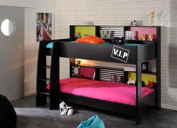 lits-superposés-design-noir-compact-matelas-colorés
