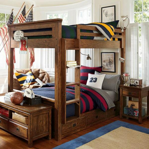 L 39 arrangement des lits superpos s dans la chambre d 39 enfant for Boys rugby bedroom ideas