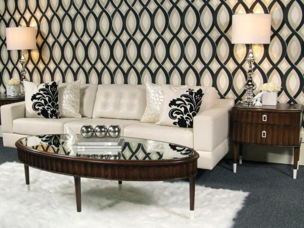 papier-peint-graphique-deux-lampes-de-chevet-et-un-sofa