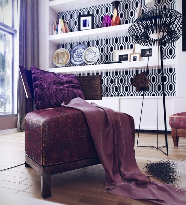 papier-peint-graphique-et-un-grand-sofa-en-cuir