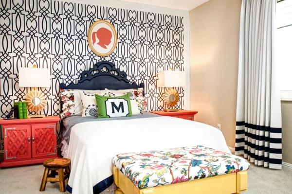 papier-peint-graphique-idées-déco-pour-chambres-à-coucher