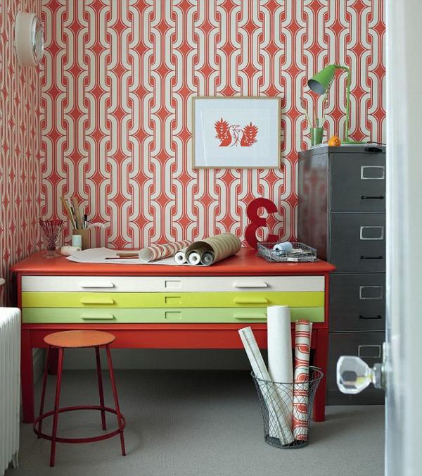 papier-peint-graphique-motifs-en-rouge-et-blanc
