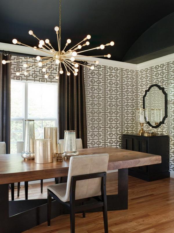 papier-peint-graphique-salle-à-manger-moderne