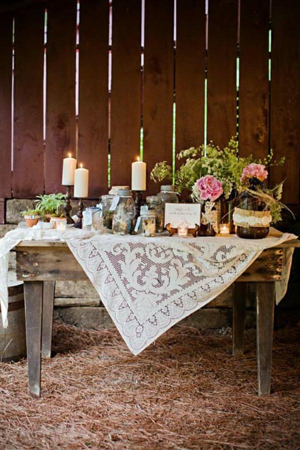 pas-cher-décoration-du-table-en-style-rustique-de-village