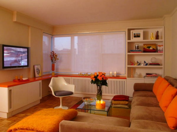 peinture-taupe-accents-oranges-pour-l'intérieur