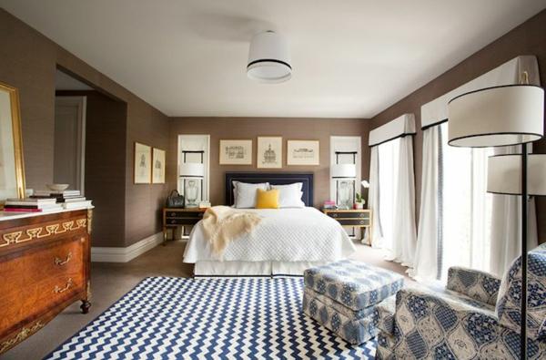 peinture-taupe-chambre-à-coucher-déco-vintage-tapis-géométrique