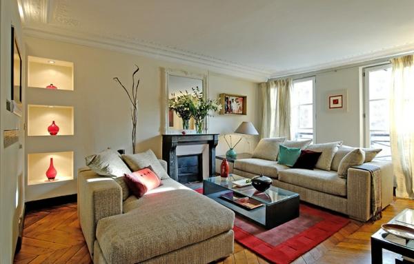 peinture-taupe-et-tapis-rouge-petite-salle-de-séjour-moderne