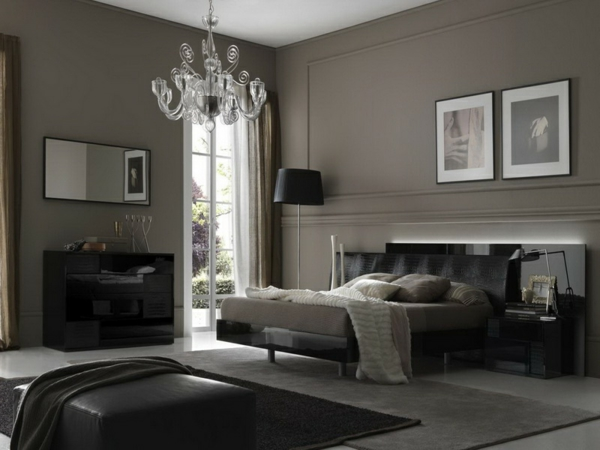 peinture-taupe-grise-chambre-à-coucher-élégante