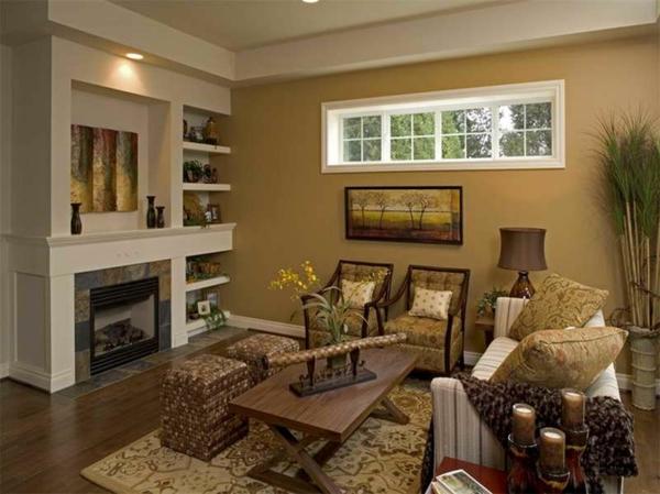 peinture-taupe-intérieur-original-foyer-et-étagères-flottantes