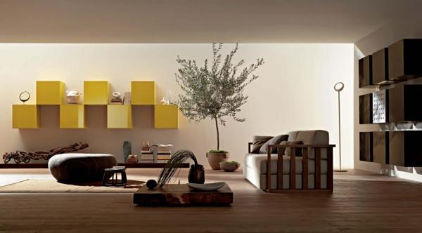 peinture-taupe-intérieur-taupe-minimaliste-unités-jaunes-suspendues