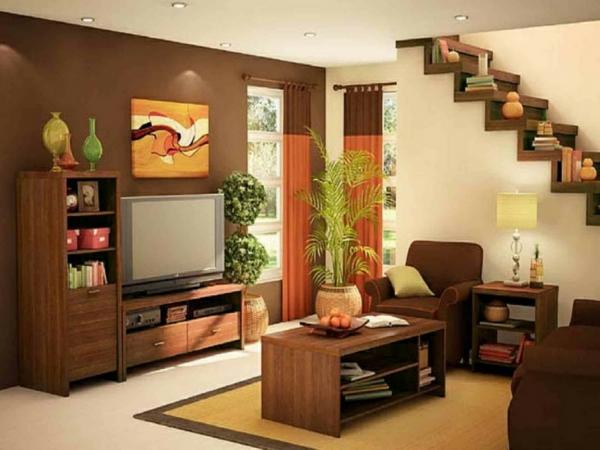 peinture-taupe-petite-salle-de-séjour-mur-taupe-escalier-en-bois