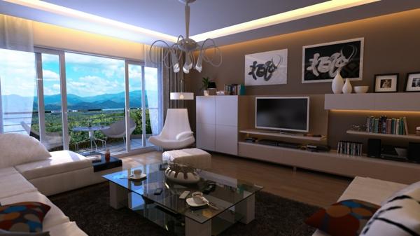 peinture-taupe-salle-de-séjour-lumineuse-murs-taupes-grande-baie-vitrée
