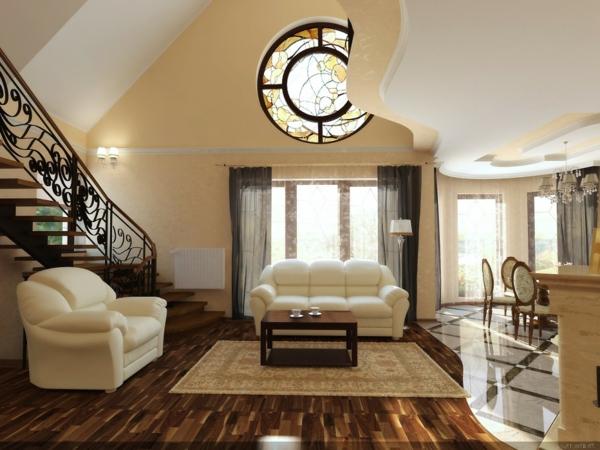 peinture-taupe-sofas-beiges-magnifiques-un-escalier-élégant