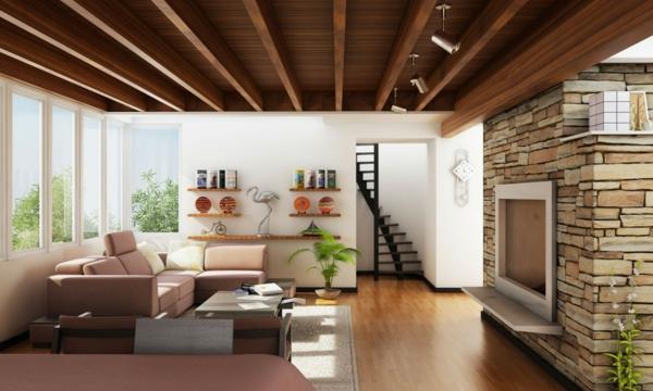 pierre-naturelle-pour-l'intérieur-esclaier-noir-magnifique-plafond-en-bois