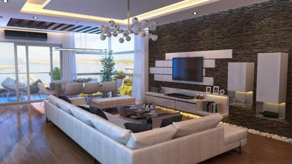 La pierre naturelle pour l 39 int rieur int rieurs cosy et chaleureux - Deckenleuchten wohnzimmer modern ...