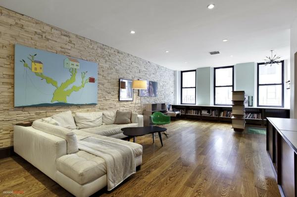 ... minimaliste, salle de séjour spacieuse, un mur en pierre naturelle
