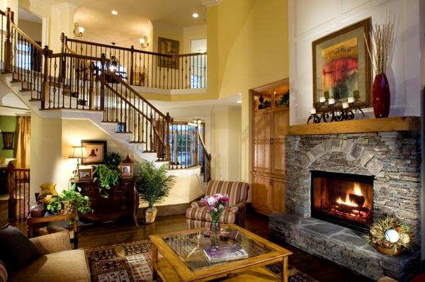 pierre-naturelle-pour-l'intérieur-maison-à-plan-ouvert-décoration-foyer-rustique