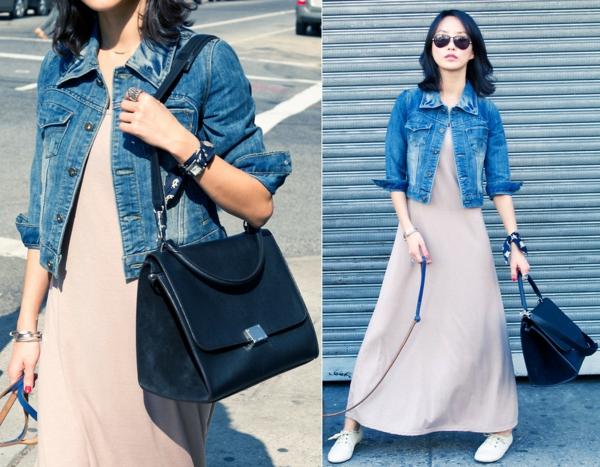 robe-trapèze-et-une-veste-courte-en-jeans