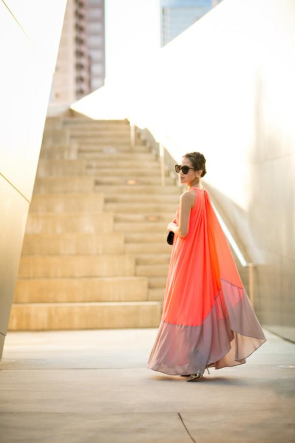 robe-trapèze-longue-couleur-corail
