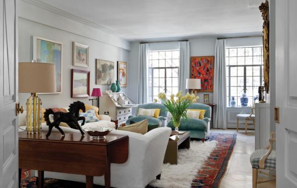 style-art-déco-appartement-art-déco-peintures-abstraites-et-meubles-vintage