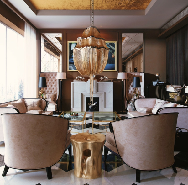 style-art-déco-fauteuils-uniques-en-couleur-taupe-rose-sol-en-marbre-et-plafonnier-original